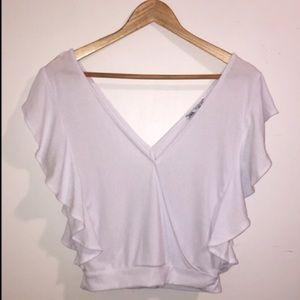 Zara Deep V-Neck White Top with Flutter Sleeves
